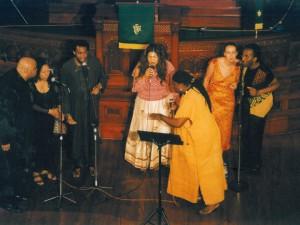 Vocal group concert, 2003 with: Jeffery Smith, Elisabeth Kontomanou, Siji Awoyinka, Shakti (Thara Tangavelu), Wes Madiko (Front), Tessa Souter, Gino Sitson