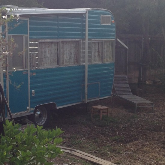 My little trailer for two nights staying with dear friends Xandra and David and Jasmin