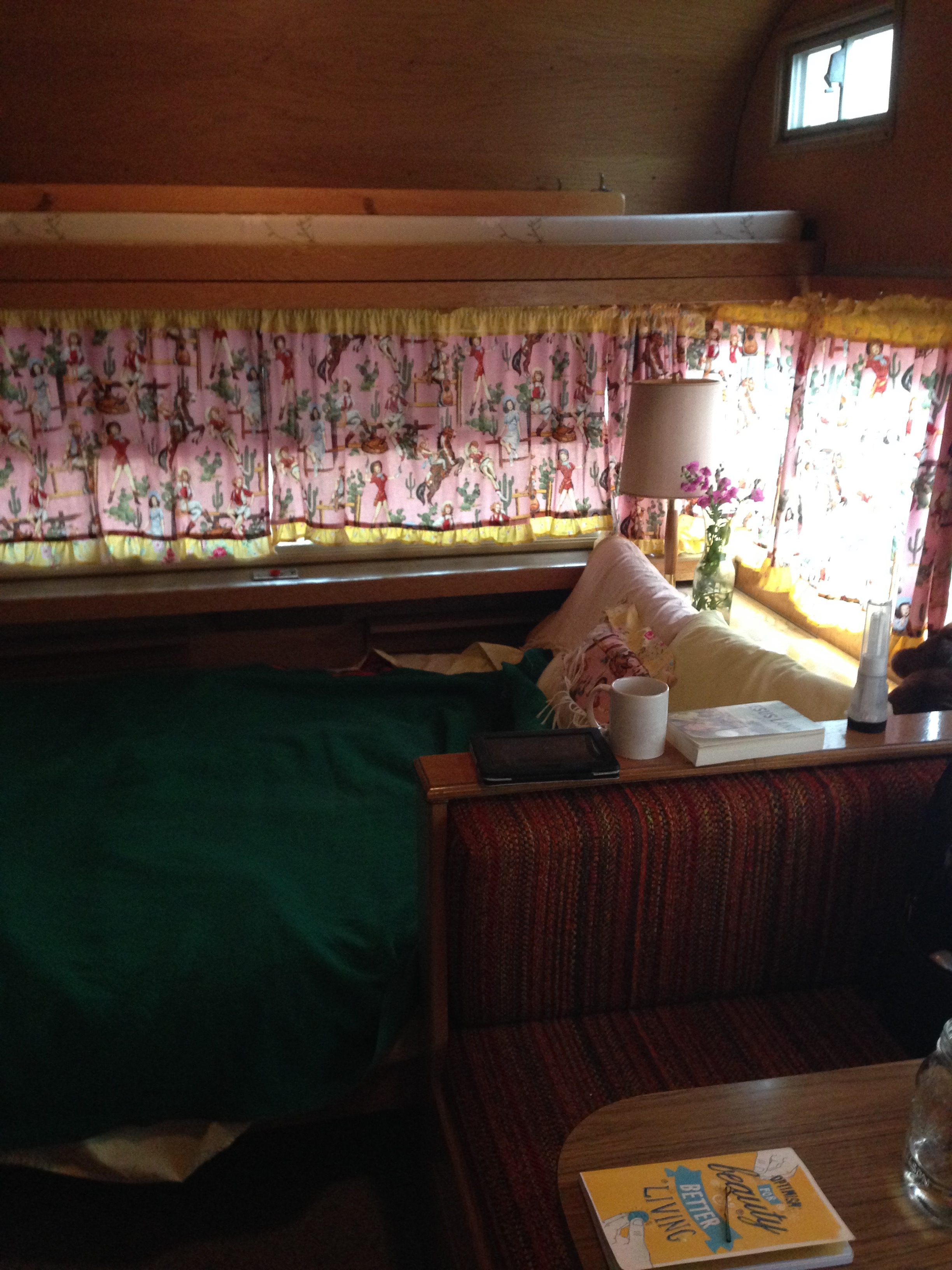 My little trailer INSIDE for two nights staying with dear friends Xandra and David and Jasmin