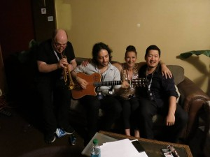 w/ Lew Soloff, Yotam Silberstein and Yasushi Nakamura in the Green Room between sets at Rochester Jazz Festival, 2014